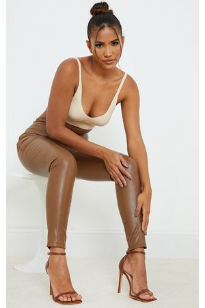 PrettyLittleThing Chocolate PU Barely There Strappy Heeled Sandals