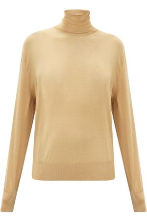 The Row Andrett Fluted-cuff Cashmere Roll-neck Sweater - Womens - Camel