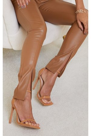 PRETTYLITTLETHING Tan PU Barely There Strappy Heeled Sandals