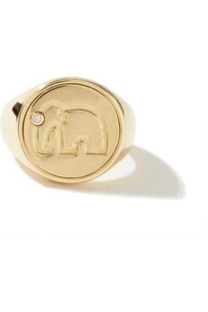 YVONNE LÉON Diamond & 9kt Elephant Signet Ring - Womens