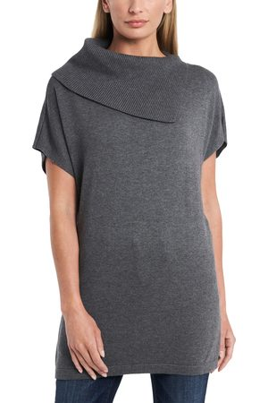 Vince Camuto Women's Foldover Split Neck Short Sleeve Tunic Sweater