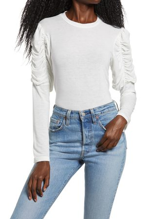 ENGLISH FACTORY Women's Ruched Long Sleeve Top