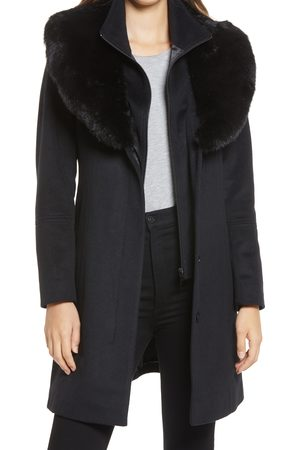 Via Spiga Women's Faux Fur Collar Wool Blend Coat