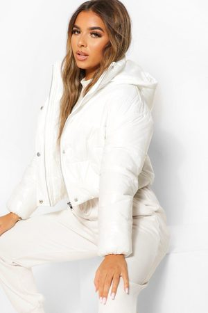 Boohoo Womens Petite Hooded Crop High Shine Coat - - 2
