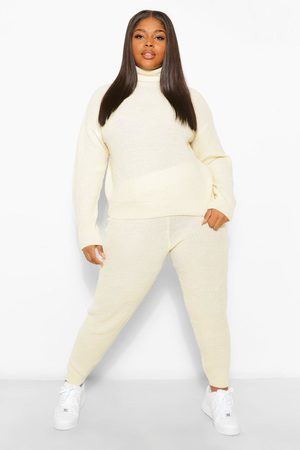 Boohoo Womens Plus Turtle Neck Knitted Jogger Lounge Set - - 12