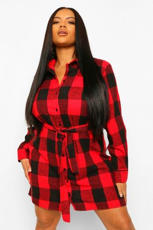 Boohoo Womens Plus Flannel Self Belted Oversized Shirt Dress - - 12