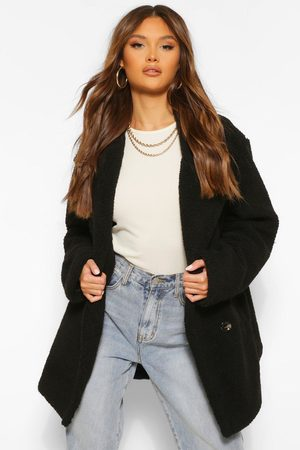 Boohoo Womens Double Breasted Faux Teddy Fur Coat - - 4