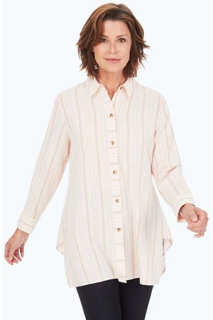 Foxcroft Women Tunics - Brushed Cotton Multi-Stripe Tunic