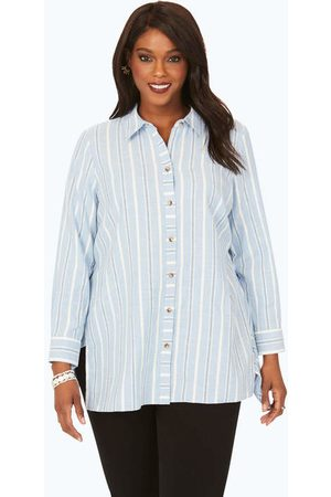 Foxcroft Collection Women Tunics - Plus Brushed Cotton Multi-Stripe Tunic