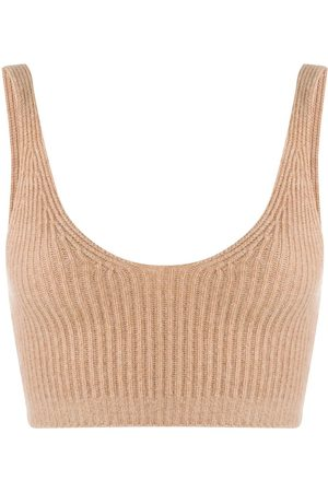 Cashmere In Love Reese ribbed-knit cropped vest - Neutrals