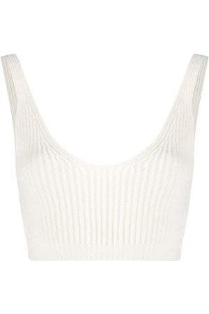 Cashmere In Love Ribbed knit cropped vest - Neutrals