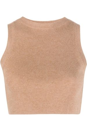 Cashmere In Love Ribbed-knit cropped top - Neutrals
