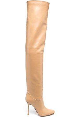 Francesco Russo Women Thigh High Boots - Thigh-high leather boots - Neutrals