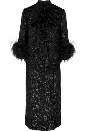 16Arlington Women Printed Dresses - Fujiko feather-trimmed leopard-devoré midi dress