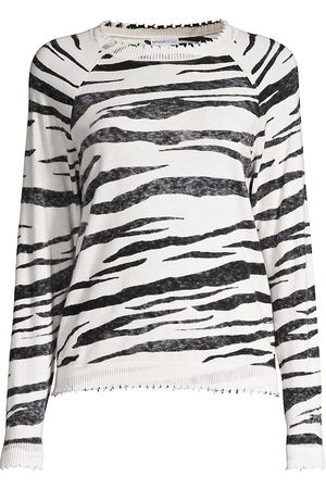 MINNIE ROSE Women's Tiger Cashmere-Blend Crewneck Sweater - - Size Medium