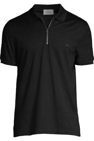 Salvatore Ferragamo Men's Zip Basic Cotton Polo - - Size Small