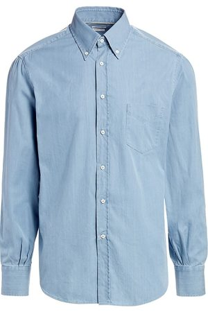 Brunello Cucinelli Men's Basic-Fit Chambray Shirt - - Size XL