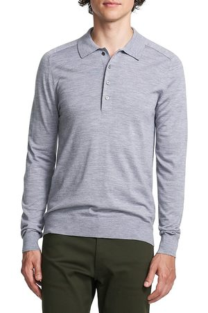 THEORY Men's Long-Sleeve Heathered Polo Shirt - - Size XS