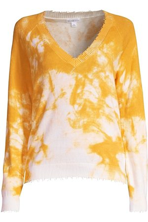 MINNIE ROSE Women's Tie-Dye Distressed V-Neck Sweater - - Size XL
