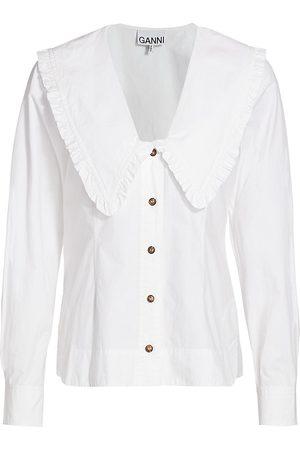 Ganni Women's Cotton Poplin Pilgrim Collar Top - - Size 34 (2)