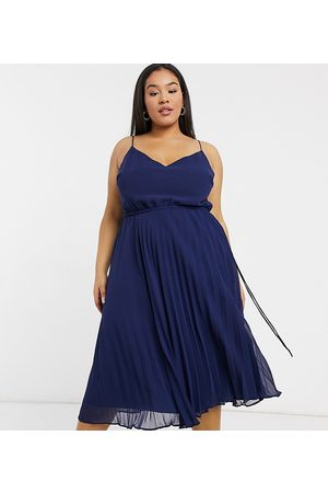 ASOS ASOS DESIGN Curve pleated cami midi dress with drawstring waist in navy