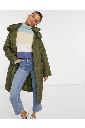 ASOS Quilted parka with contrast stitching in khaki