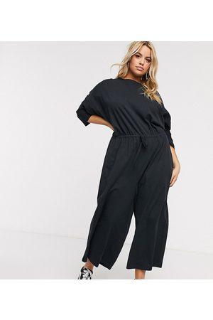 ASOS ASOS DESIGN curve lounge jersey slub tie waist casual jumpsuit in