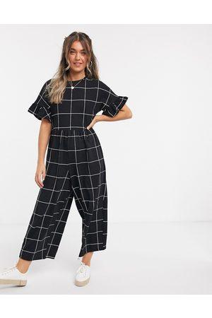ASOS Lounge jersey ruffle sleeve smock jumpsuit in mono check print-Multi