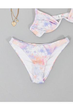 ASOS Women Bikinis - High leg hipster bikini bottom in colorful tie dye print-Multi