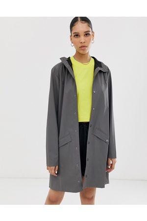 Rains Long waterproof jacket in charcoal