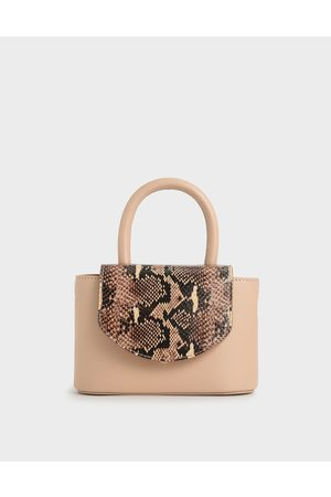 CHARLES & KEITH Bags - Snake Print Leather Cylinder Bag