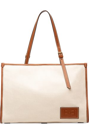 Bally Calie Leather Trim Canvas Tote