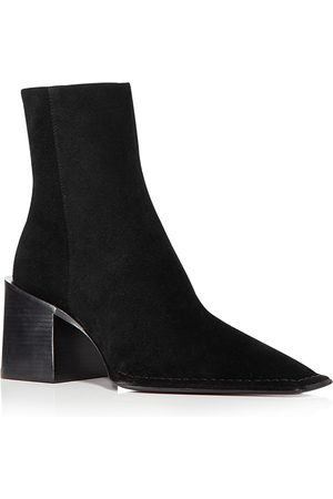 Alexander Wang Women's Parker Square Toe Stacked Heel Suede Booties