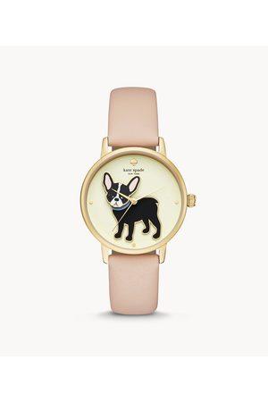 Kate Spade New York Women's Grand Metro Three-Hand Vachetta Leather Watch