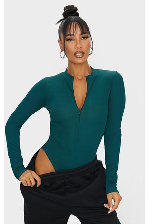 PRETTYLITTLETHING Bottle Rib Zip Up Long Sleeve Bodysuit