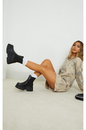 PRETTYLITTLETHING Women Chelsea Boots - PU Large Cleat Extra Chunky Sole Chelsea Boots