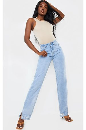 PRETTYLITTLETHING Tall Light Wash Distressed Split Hem Straight Leg Jeans