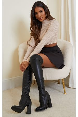 PRETTYLITTLETHING PU Edge High Heeled Over The Knee Boots