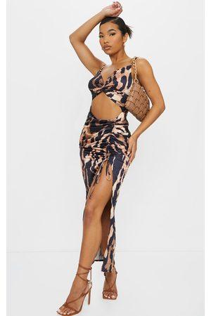 PRETTYLITTLETHING Leopard Print Satin Twist Bust Ruched Maxi Dress