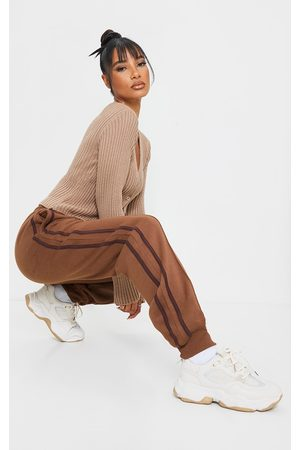PRETTYLITTLETHING Chocolate Double Side Stripe Joggers