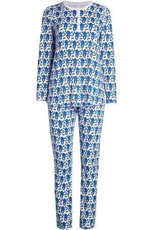 Roller Rabbit Women's Monkey Print 2-Piece Pajama Set - - Size Small