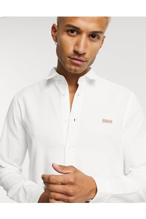 HUGO BOSS Evart contrast embroidered logo shirt in