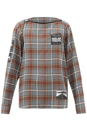 RAF SIMONS Logo-patch Check Cotton-flannel Shirt - Mens - Grey Multi