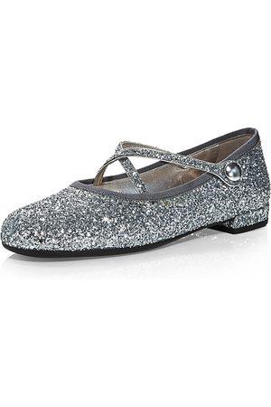 Miu Miu Glitter Crisscross Strap Ballerina Flats