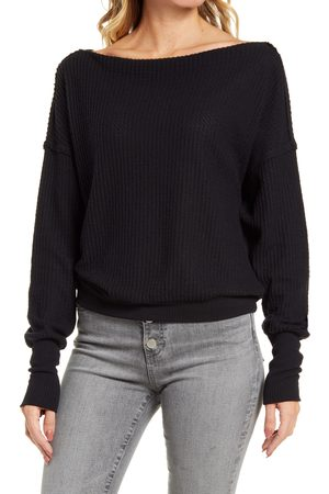 Treasure & Bond Women's Off The Shoulder Thermal Knit Top