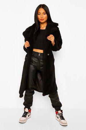 Boohoo Womens Petite Teddy Faux Fur Pocket Detail Maxi Coat - - 2