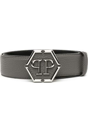 Philipp Plein Hexagon logo-plaque belt - Grey