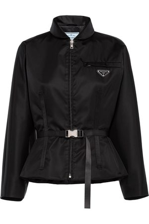 Prada Women Jackets - Logo-plaque belted jacket