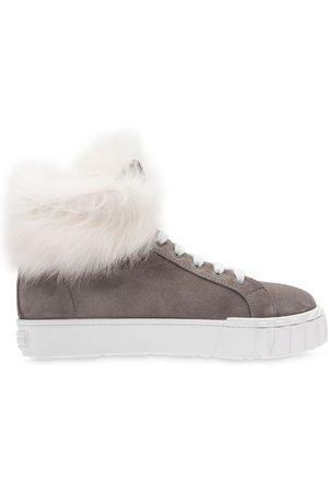 Miu Miu Shearling high-top sneakers - Grey