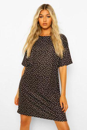 Boohoo Womens Tall Polka Dot Print T-Shirt Dress - - 2